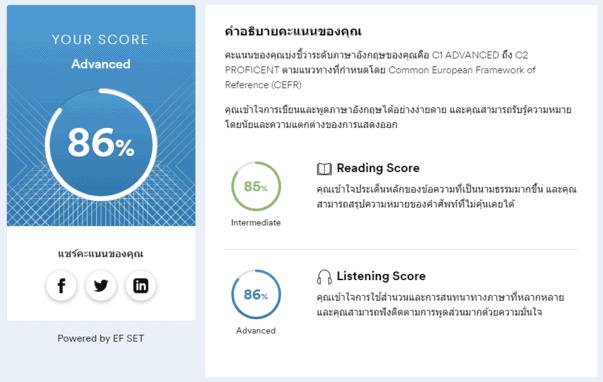 EF CEFR test result - 15min